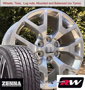 20 X9 Inch Gmc Sierra 1500 Wheels 5658 Polished Rims Tires Fit Chevy Tahoe
