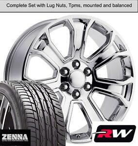 22 X9 Inch Wheels And Tires For Chevy Suburban Oe Replica 5665 Chrome Rims