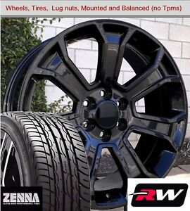 22 X9 Inch Wheels And Tires For Chevy Avalanche Replica 5665 Gloss Black Rims