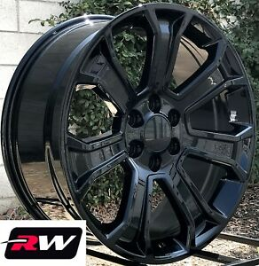 22 X9 Inch Rw 5665 Wheels For Gmc Truck Gloss Black Rims 6x139 7 6x5 50 24 Set