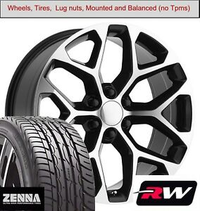 22 X9 Inch Wheels And Tires For Gmc Sierra 1500 Replica 5668 Black Machined Rims