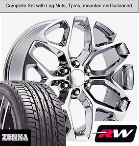 22 X9 Inch Wheels And Tires For Chevy Suburban Replica Ck156 Chrome Rims