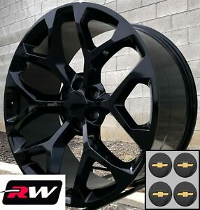 20 Inch Chevy Silverado 1500 Oe Replica Snowflake Wheels Gloss Black Rims 20 X9
