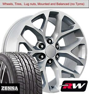 20 X9 Inch Gmc Sierra Wheels 5668 Silver Machined Rims Tires Fit Chevy Avalanche