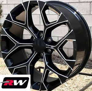 24 Inch 24 X10 Wheels For Chevy Tahoe Black Milled Rims Ck156