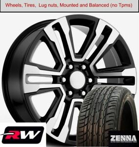 22 X9 Inch Wheels And Tires For Chevy Tahoe Replica 5822 Machined Black Rims