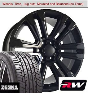 22 X9 Inch Wheels And Tires For Chevy Avalanche Replica 5822 Satin Black Rims