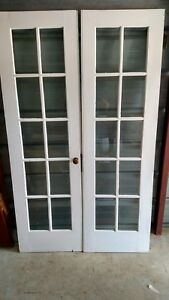 4 Ft Vintage French Doors Wood 10 Pane Bevelled Glass We Ship