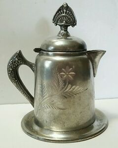 Antique Victorian Silverplate Syrup Pitcher Or Creamer With Drip Tray Base