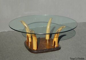 Vintage Henredon Tiger Wood Horn Cocktail Coffee Table By Henredon