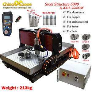 Steel Cnc 6090 4axis 2 2kw Mach 3 Engraving Machine For Metal Copper Steel Brass