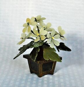 Vintage Chinese Hardstone Jade Tree Flowers Paneled Brass Planter