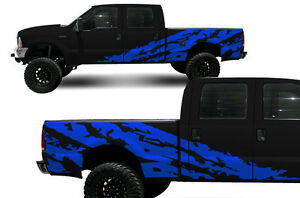 Custom Vinyl Decal Shred Wrap Kit For Ford F 250 F 350 Truck Parts 1999 06 Blue