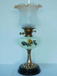 Antique Double Burner Oil Lamp With Amber Tinted Etched Shade Free Uk Post