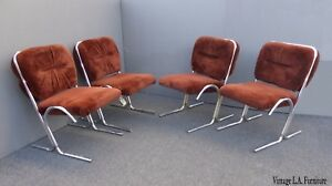 Four Vintage Mid Century Modern Chrome Dining Chairs Brown Velvet
