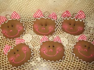 6 Gingerbread Cookies Ornaments Fabric Bowl Fillers Country Christmas Home Decor