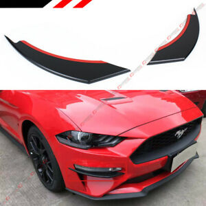 For 2018 19 Ford Mustang Black Front Bumper Vent Winglets Fog Light Canard Trim
