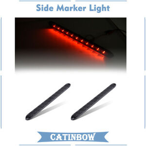 2pc 15 11led Smoked Red Side Truck Trailer Rv Marker Light Tail Brake Stop Bar
