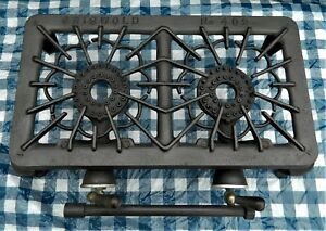 Antique Griswold Gas Stove No 402 Old Table Top Cast Iron Double Burners