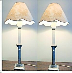Vintage French Silver Plated Column Lamps Custom Made Shades
