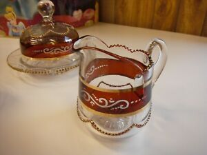 Eaph A H Heisey 1295 Bead Swag Ruby Stained Butter Creamer Sugar Setting