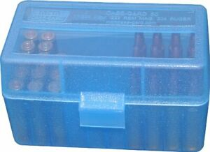 MTM PLASTIC AMMO BOXES (10) CLEAR BLUE 50 Round 223  5.56  MORE- FREE SHIPPING