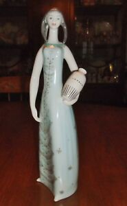 Vintage Hollohaza Art Deco Moderne Porcelain Maiden Hand Decorated Lady Figurine