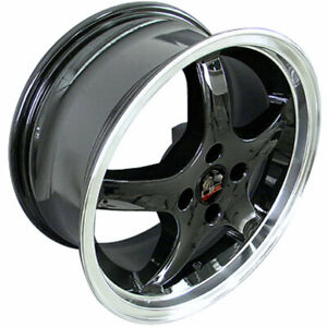 Black 17 Rim W Machined Lip Mustang Cobra R Deep Dish Style Wheel 17x8