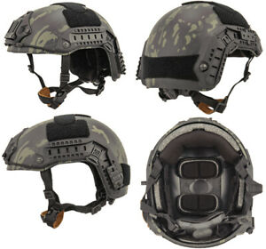 Maritime FAST Tactical Advanced Helmet ML + Accessories in Night Camo MilSim