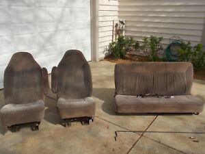 92 96 Ford Bronco Eddie Bauer Cloth Bucket Seats And Bench Seat Tan Set Rare