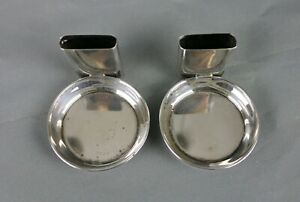 Set Of 2 Vintage Sterling Silver Ashtrays With Attached Match Holders