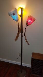 Vintage Mid Century Danish Modern Sculpted Teak Wood Petals Floor Lamp W Shades