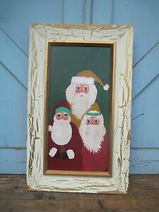 Modern Style Oil Painting 3 Santa Claus Figures Holiday Christmas Items