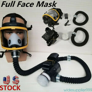 Electric Constant Flow Supplied Air Fed Face Gas Mask Spray Painting Respirator