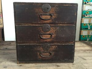 Antique Japan 1900s Furniture Tansu Accessory Case Japanese Chest Storage Wooden
