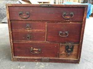 Antique Tansu Chest Storage Furniture Wooden Japan Brown 1900s Japanese H258