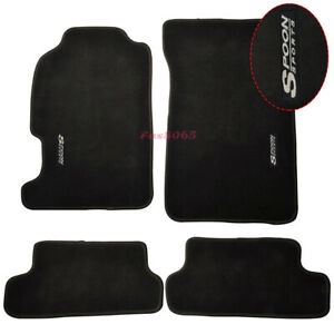 Fits 97 01 Honda Prelude Floor Mats Front Rear Nylon Black W Spoon Embrodery