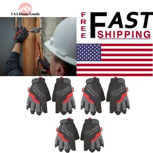 Milwaukee X Large Fingerless Work Gloves 3pack Padded Palms Built In Terry Cloth