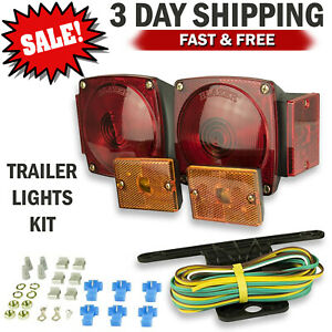 12v Rear Trailer Tail Lights Kit Boat Marker Stop Turn Signal For Car Truck Rv