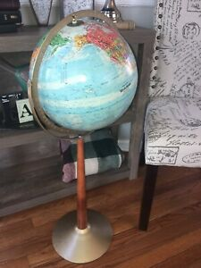 Globe Vintage Replogle World Nation Metal Wood Axis Floor Stand 34 Tall