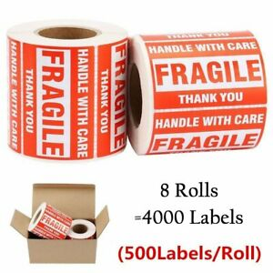 500 roll 3x5 Fragile Sticker Shipping Label Handle With Care Thank You 8 Rolls