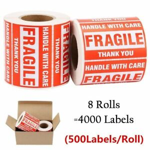 8 Rolls 3x5 500 roll Fragile Stickers Handle With Care Shipping Easy Peel Labels