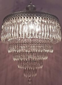Vintage Crystal Chandelier 5 Tier Wedding Cake Ceiling Light W 250 Czech Prisms