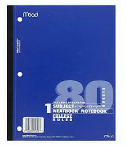 Acco mead 05626 Neatbook 80 page 8 X 10 1 2in College ruled Notebook qty 24