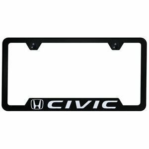 Cut out License Plate Frame With Honda Civic On Black officially Licensed