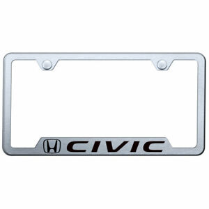 Cut out License Plate Frame With Honda Civic On Brushed Steel licensed