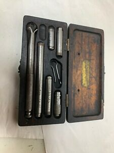 Vintage Lufkin No 680 Inside Micrometer Set In Original Wooden Box
