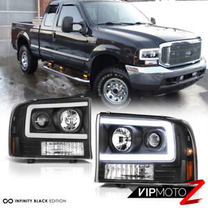 For 99 04 Ford F250 F350 Superduty neon Tube Led Drl Black Projector Headlight