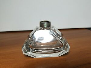 Antique Wilcox Sterling Silver Rim Crystal Perfume Bottle No Top