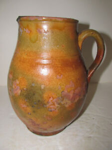 Antique Redware Pitcher American Circa 1850 Attributed To Washington Co Md